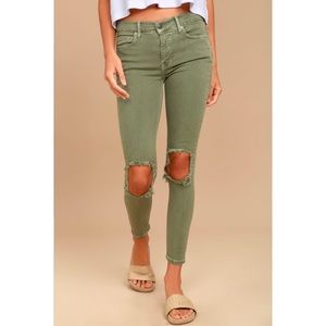FREE PEOPLE • Busted Knee Olive Green Skinny Jeans
